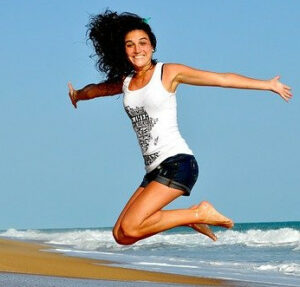 Lady Jumping happily and with energy
